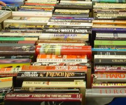 Paperbacks at a book sale