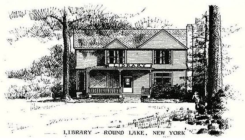 Pen and Ink drawing of Round Lake Library